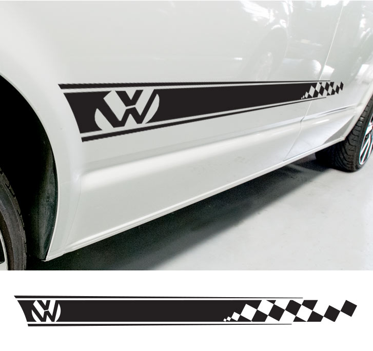 Plain Cheque Side Stripe Decal for Volkswagon Campers - no words!