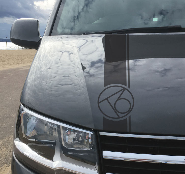 T6 Vw Bonnet Logo Stripe Decal For Volkswagen Transporter T6